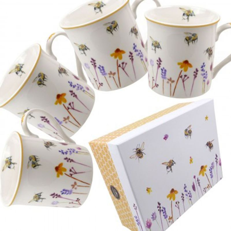 Set 4 x Mugs Water Colour Busy Bees Design by Jennifer Rose